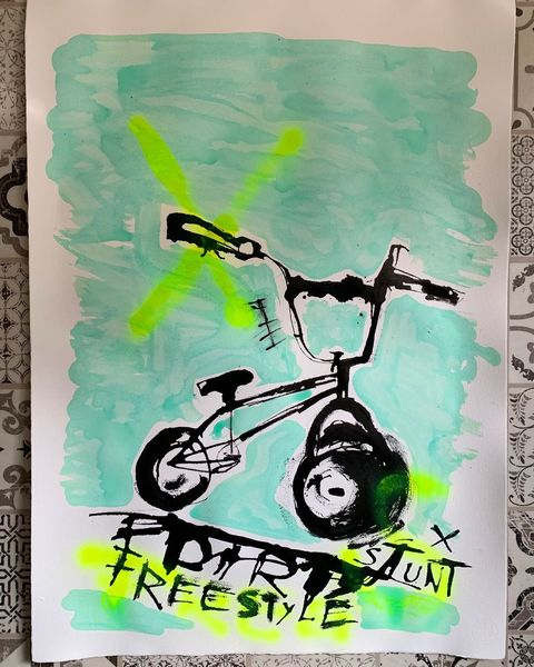 Bmx, Stunt, Bike, Malerei, Freestyle