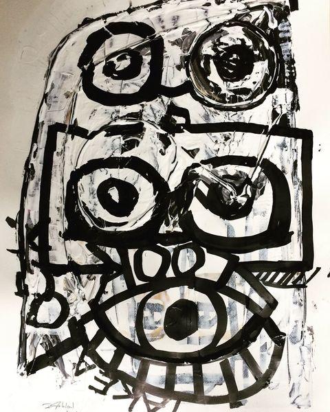 Augen, Kopf, Brille, Malerei