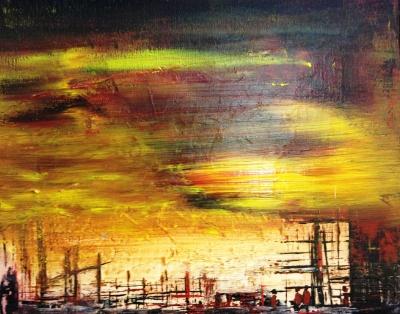 Acrylmalerei, Gelb, Mischtechnik, Rot, Spachteltechnik, Farben