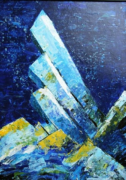 Farben, Technik, Blau, Intensiv, Spachtel, Acrylmalerei