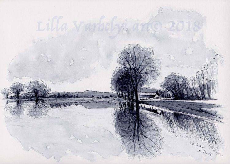 Flussufer, Landschaft, Tusche, Baum, Monochrom, Studie