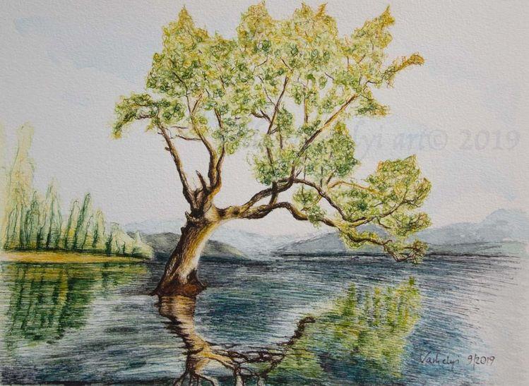 Baum, Wasser, Studie, Tuschmalerei, Landschaft, Zeichnung
