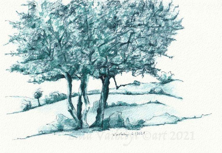 Natur, Landschaft, Blau, Studie, Tuschmalerei, Baum