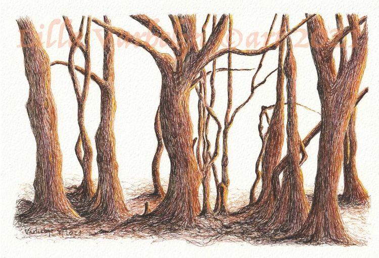Federzeichnung, Natur, Tuschmalerei, Wald, Baum, Landschaft