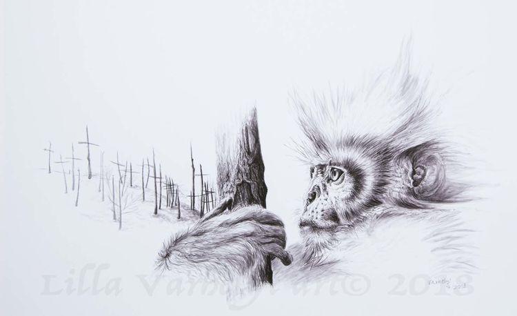 Wildtier, Baum, Tusche, Affe, Tierwelt, Zeichnung