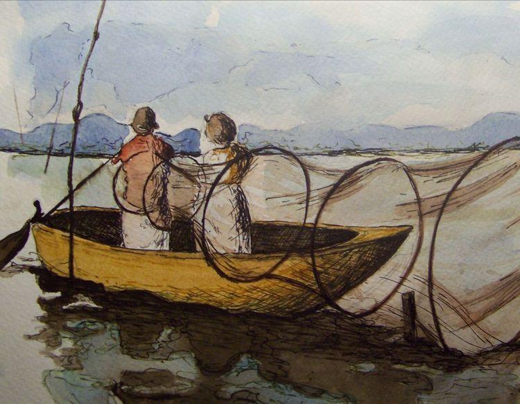 Fischer, Wasser, Mischtechnik, Tuschmalerei, Aquarellmalerei, Boot