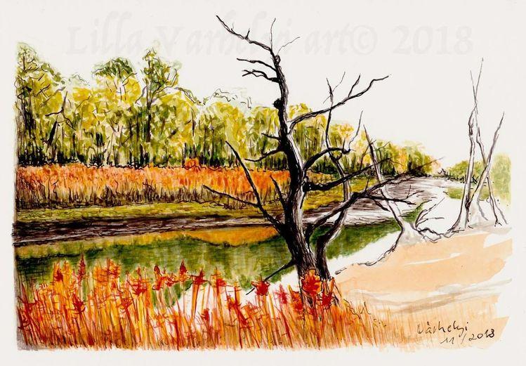 Stimmung, Tuschmalerei, Tuschezeichnung, Landschaft, Herbst, Natur