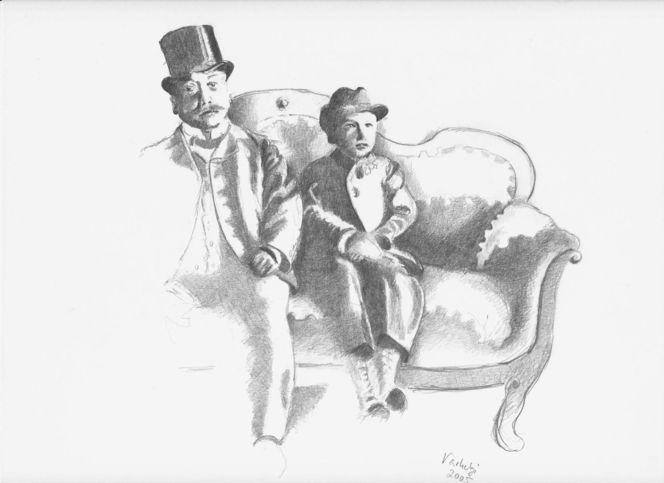 Sofa, Polsterer, Alt, Kind, Familie, Zeichnung