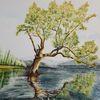 Studie, Tuschmalerei, Landschaft, Zeichnung