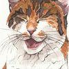 Skizze, Lachen, Katze, Zeichnung