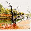 Tuschezeichnung, Landschaft, Herbst, Natur