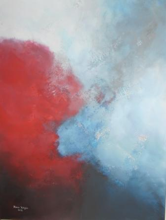 Karminrot, Mischtechnik, Pariser blau, Hellblau abstrakt, Acrylmalerei, Grau