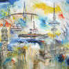 Segelboot, Groß, Gemälde, Maritim