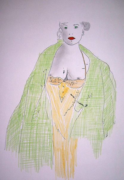 Zeichnung, Frau, Mode, Farben, Rot, Gelb