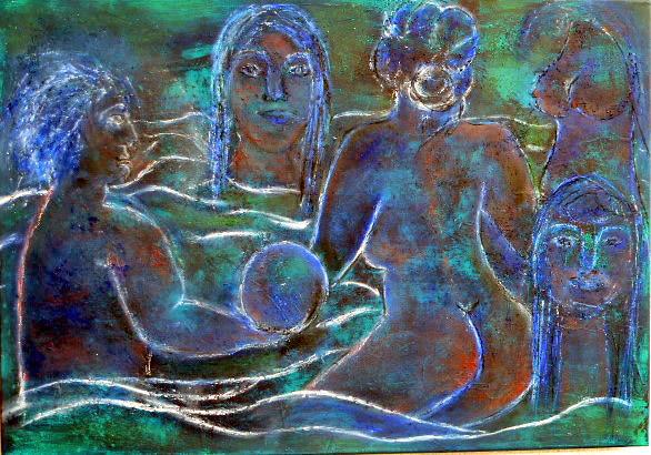 Mischtechnik, Menschen, Blau, Wasser, Acrylmalerei, Badend