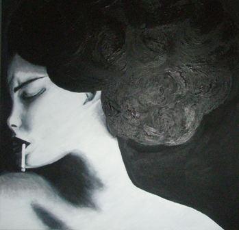Leid, Schmerz, Frau, Zigarette, Gefühl, Acrylmalerei