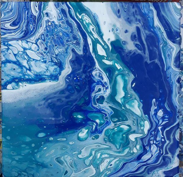 Blau, Meer, Acrylmalerei, Malerei, Mischtechnik,