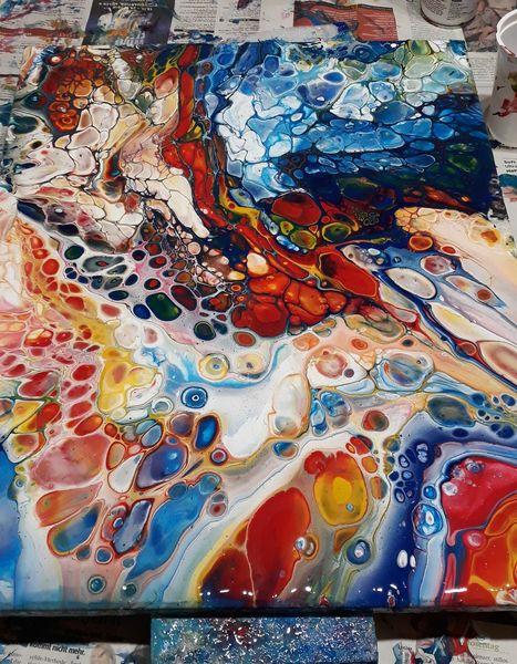 Acrylmalerei, Pouring, Bunt, Zelle, Fliesstechnik, Malerei