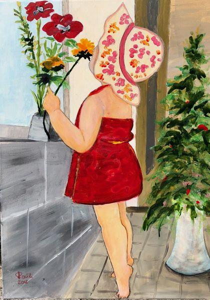 Sonnenhut, Kleinkind, Duft, Mädchen, Blumen, Malerei