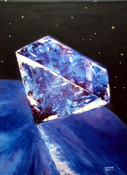 Komet, Diamant, Erde, Blauer planet, Universum, Malerei