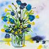 Dotterblumen, Vase, Blau, Gelb