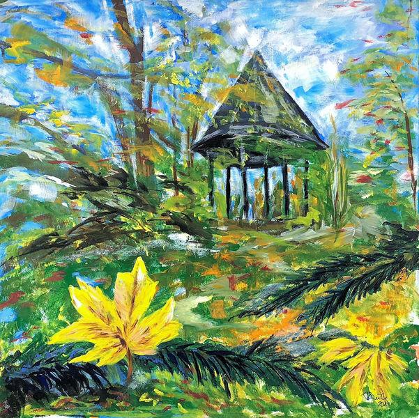 Natur, Pavillon, Landschaft, Blätter, Herbst, Baum