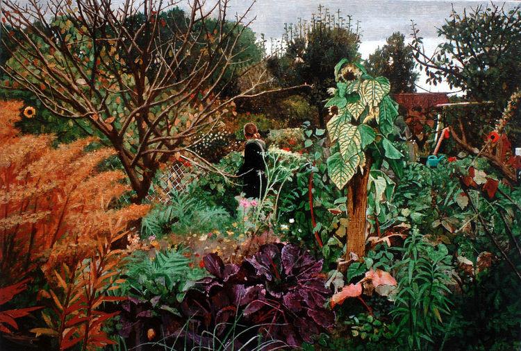 Realismus, Natur, Menschen, Garten, Figur, Malerei