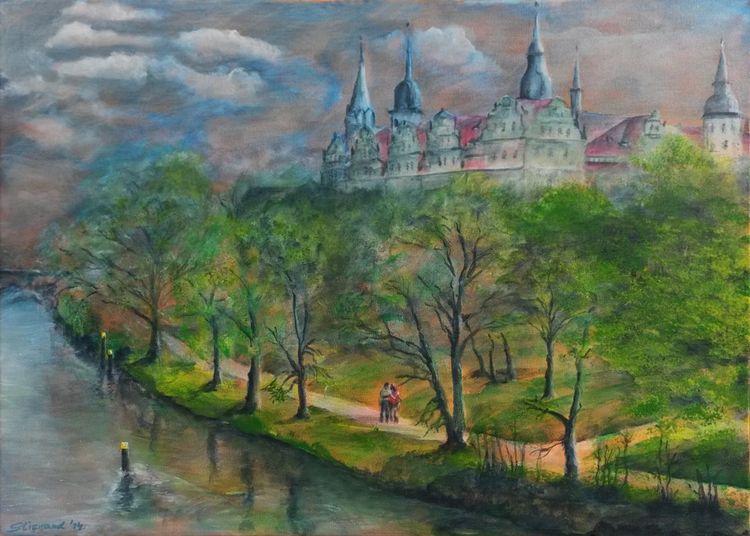 Saale, Abend, Spaziergang, Schloss, Dämmerung, Licht