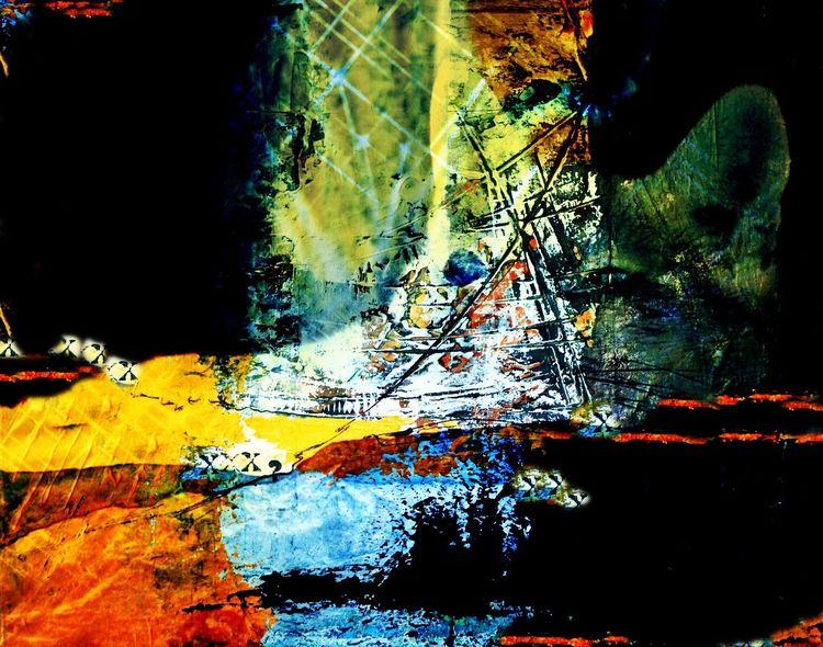 Digitale kunst, Bildbearbeitung, Überlagerung, Buchstaben, Bunt, Digital