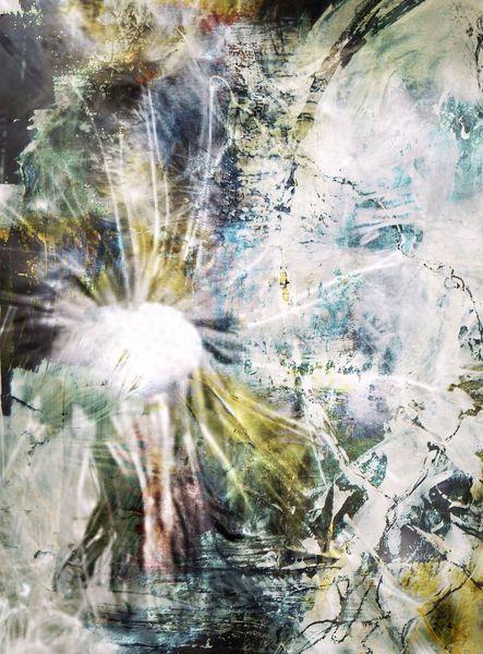 Oliv, Türkis, Acrylmalerei, Abstrakt, Digital, Fließen