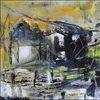 Farmhaus, Abstrakt, Acrylmalerei, Malerei