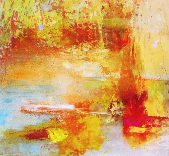 Pflanzen, Abstrakt, Digital, Teich, Ufer, Digitale kunst