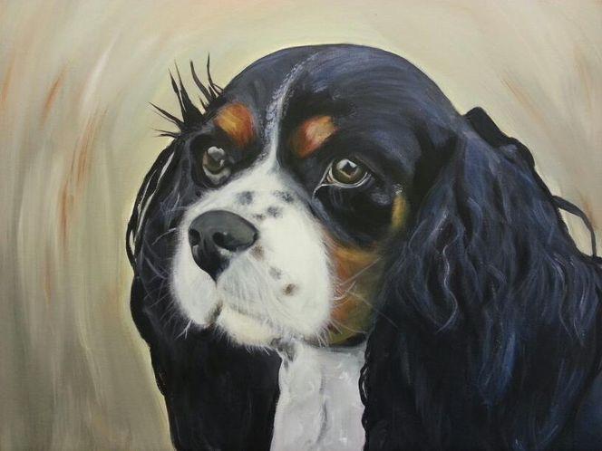 Hund porträt acryl, Malerei, Tiere, Flora