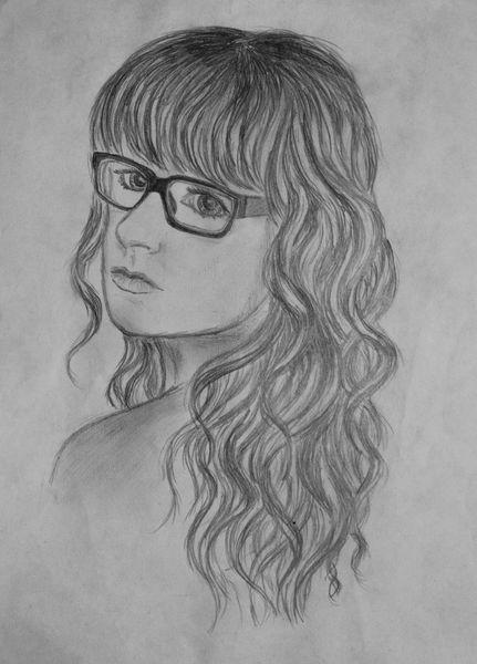 Portrait, Brille, Haare, Lippen, Augen, Zeichnungen