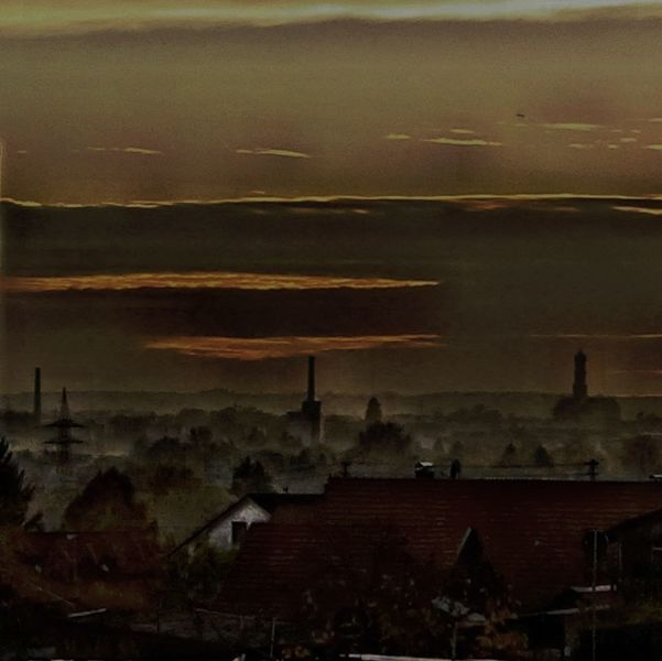 Wolken, Haus, Kirche, Häuser, Abendhimmel, Dunst