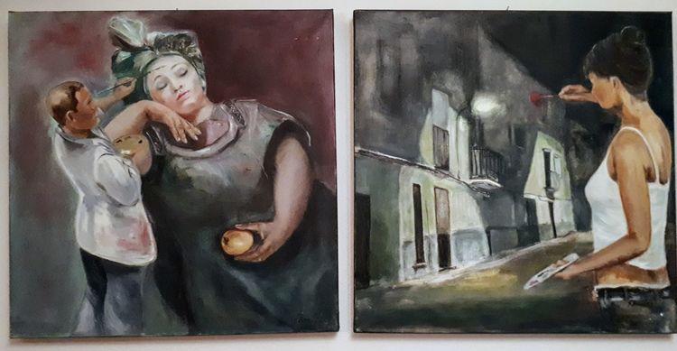 Mann, Frau, Fantasie, Malerei