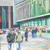 Menschen, Acrylmalerei, Platz, Malerei
