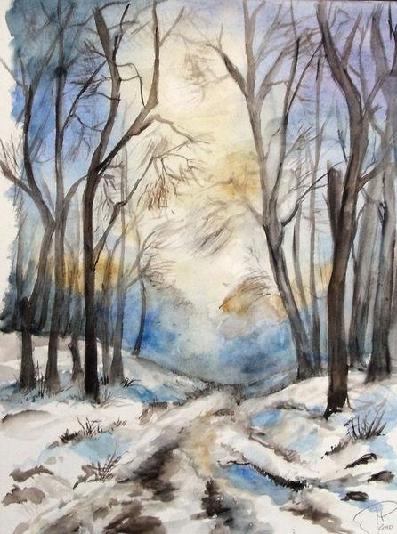 Sonnenstrahlen, Wintertag, Waldweg, Schnee, Aquarell