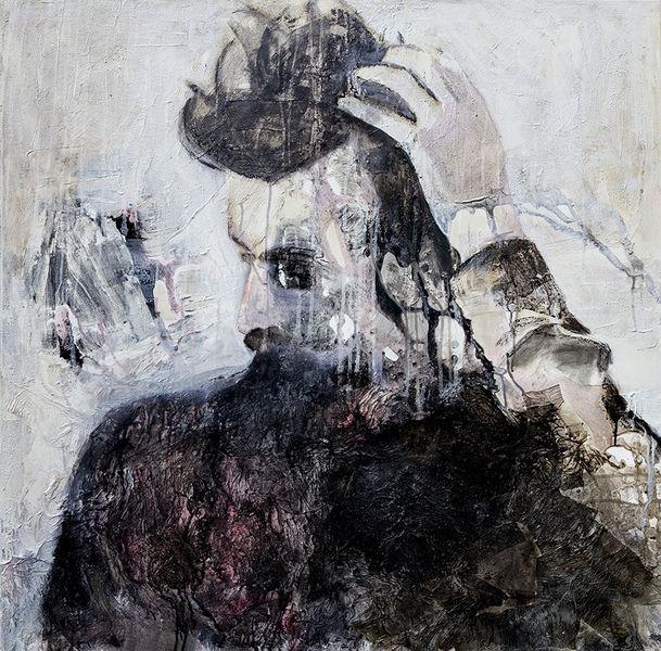 Struktur, Denken, Figurativ, Gefühl, Mann, Portrait