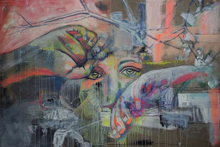 Zweig, Tief, Frau, Gesicht, Emotion, Portrait