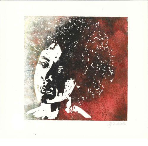 Linol, Portrait, Frau, Figural, Druckgrafik, Locken