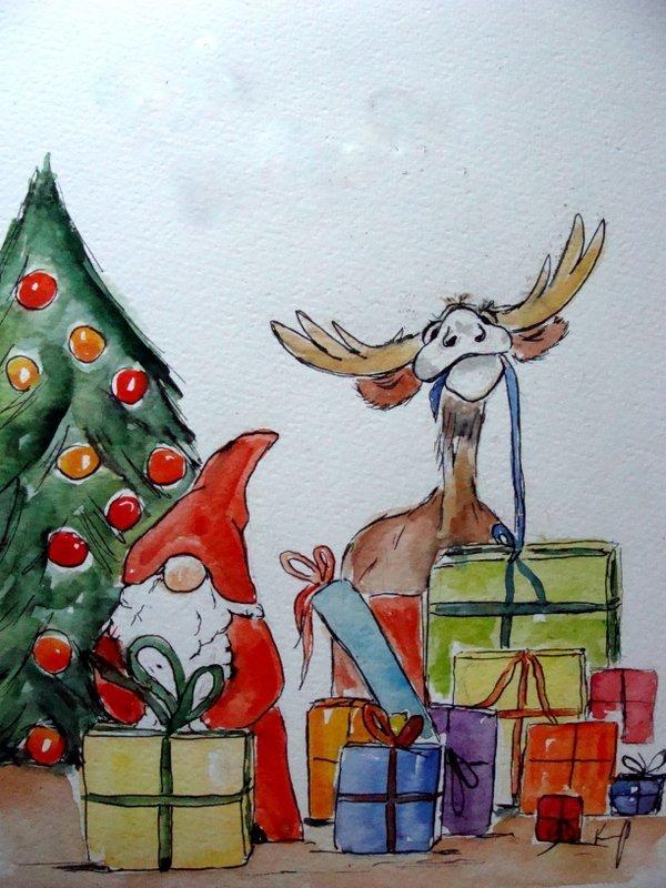 bild weihnachten zeichnungen karikatur von christine. Black Bedroom Furniture Sets. Home Design Ideas