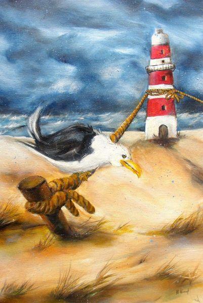 Karikatur, Sturm, Sturmsicherung, Leuchtturm, Malerei
