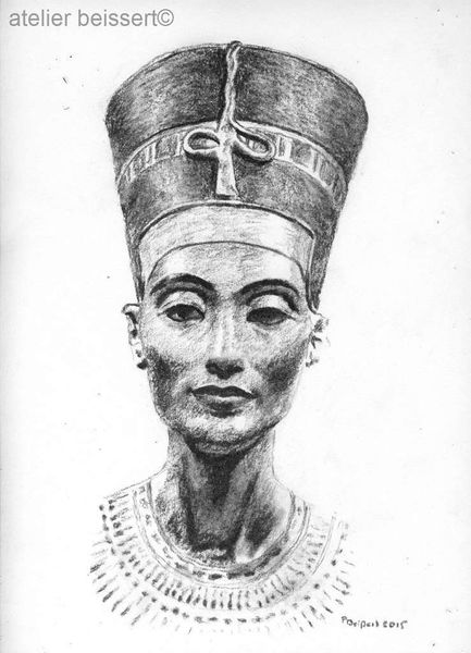 Amenophis der iv, Amun, Nefertiti, Ägypten, Zeichnung, Echnaton