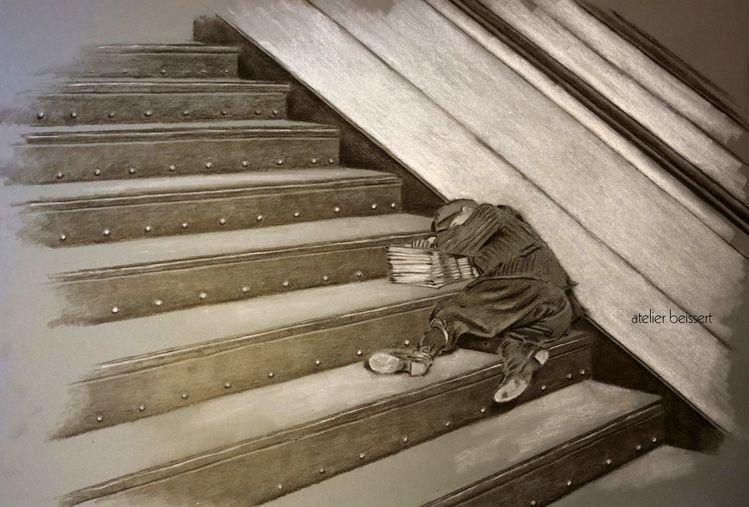 Treppe, Morgen, Zeitung, Schlaf, Kind, Zeitungsjunge