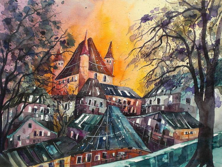 Aquarellmalerei, Schloss, Thun, Aquarell, Blick