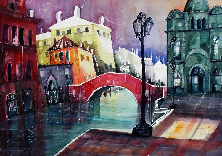 Spiegelung, Venedig, Brücke, Rio, Aquarellmalerei, San giovanni