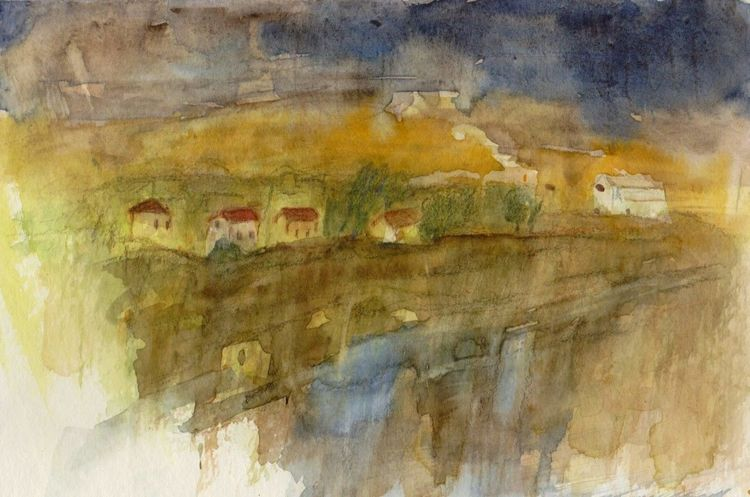 Aquarellmalerei, Abstrakt, Landschaft, Aquarell