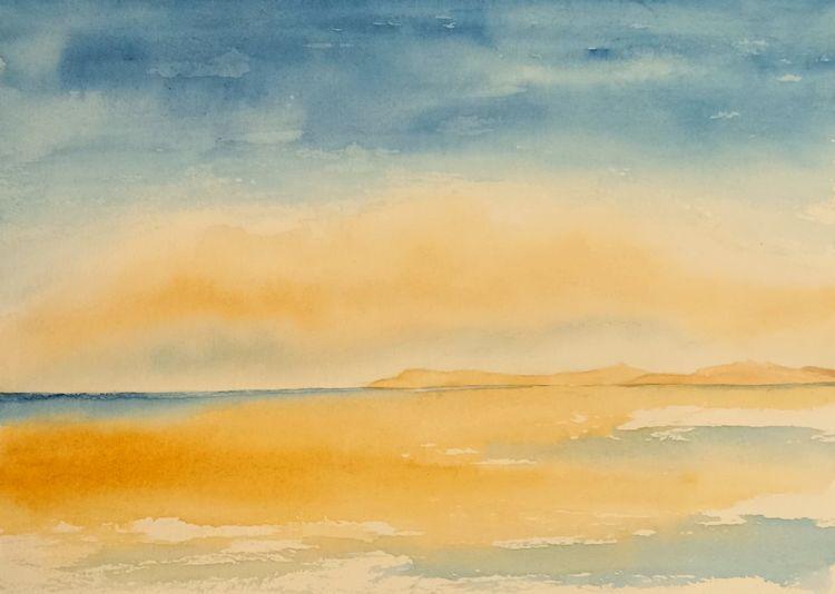 Wasser, Sand, Aquarellmalerei, Himmel, Landschaft, Aquarell