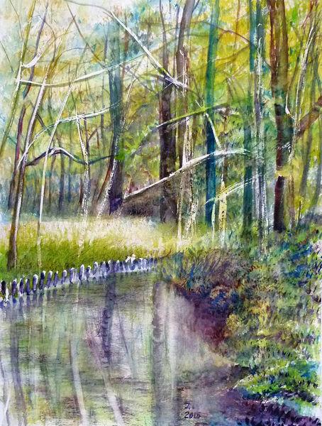 Aquarellmalerei, Spreewald, Natur, Wasser, Baum, Wald